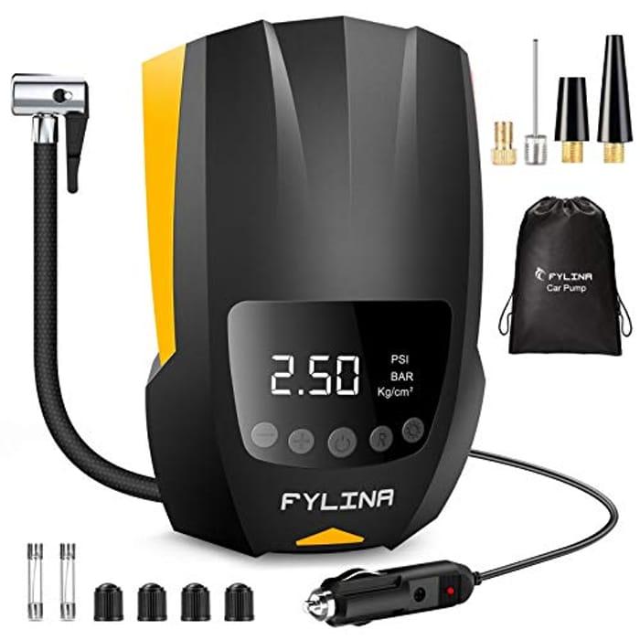 FYLINA Digital Tyre Inflator,12V 150PSI with 4-Hour Working Time & LED Light