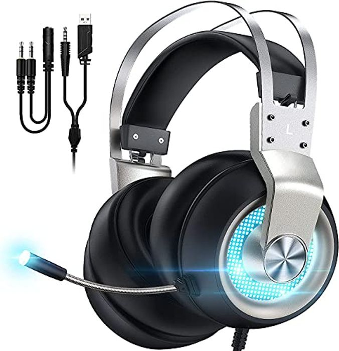 Over Ear Gaming Headset with Surround Sound and Noise Cancelling Mic