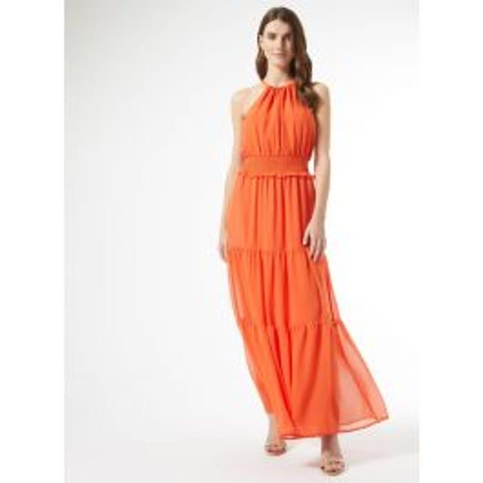 DOROTHY PERKINS  Dorothy Perkins Womens Orange Halter Neck Shirred Maxi