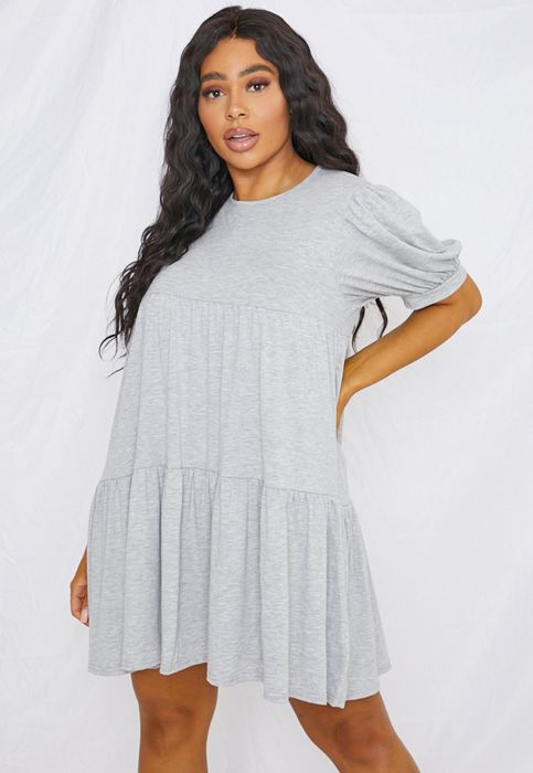 Plus Size Grey Puff Sleeve Smock Dress