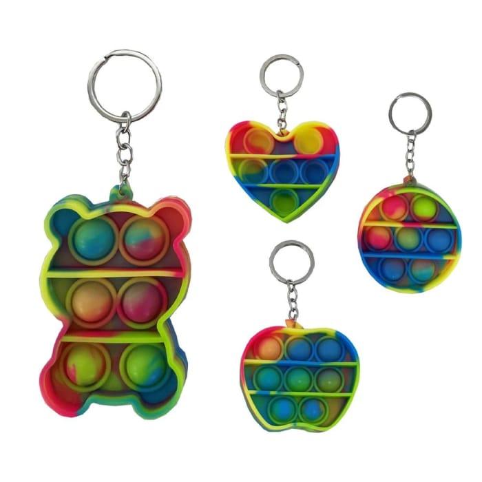 Mini Rainbow Bubble Pop Fidget Sensory Keychain