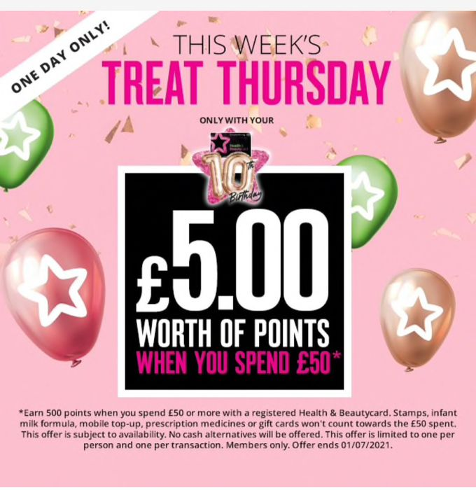 Thursday Treat :£5 worth of Points When You Spend £50