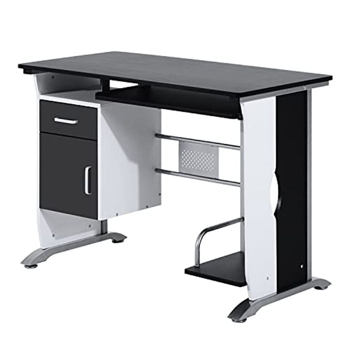 HOMCOM Computer Desk with Sliding Keyboard Tray Drawers, (Black) - Only £46.74!