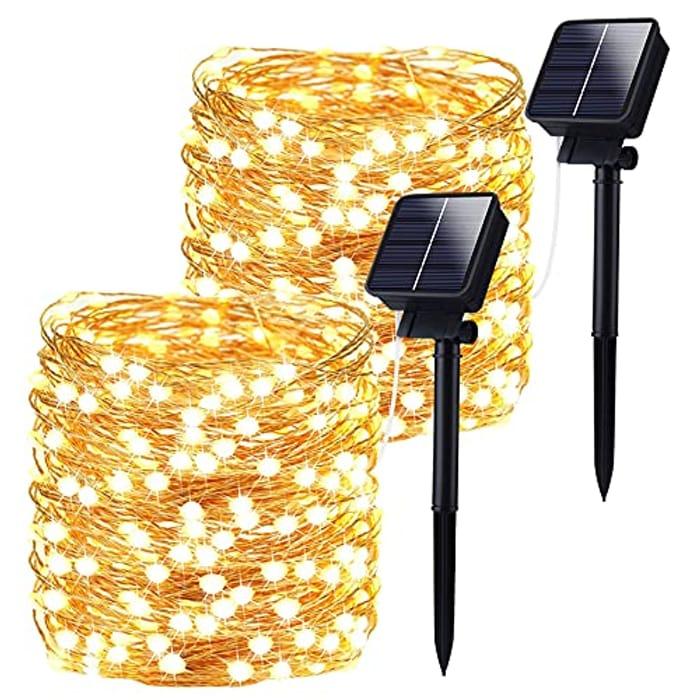 Garden 33FT 66LED Solar String Outdoor Lights, 2 Packs Warm White - Only £13.79!