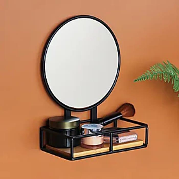 Compact Living Pedestal Mirror and Shelf