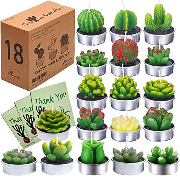 Succulent Tealight Candles (18 Styles, 3 Thanks Cards&Gift Boxed)