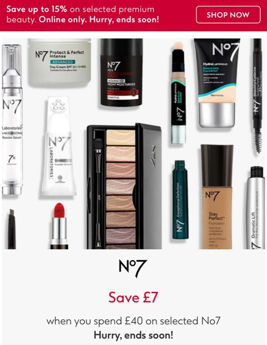 Save £7 When Spend £40 on Selected No7 &3 For2 On No7 age-defying,Cosmetic Etc