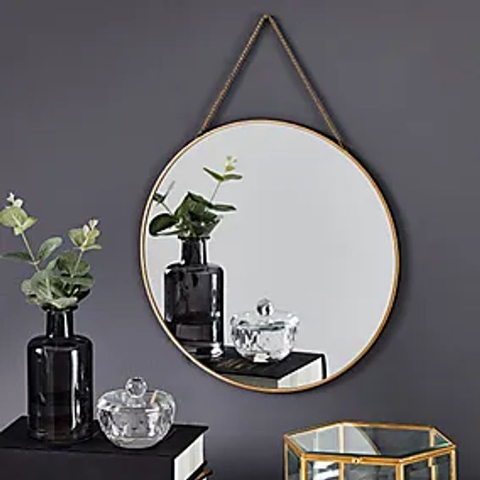 Round Hanging Chain Wall Mirror 29.5cm Gold Click & Collect after 3 Hours