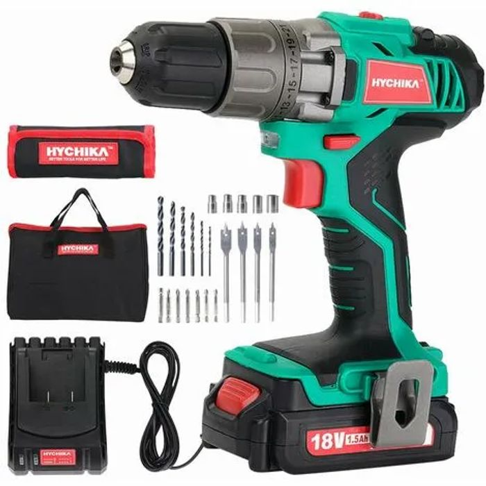 Cordless Drill Driver 18V, HYCHIKA Electric Drill with 1500mAh Li-Ion Battery