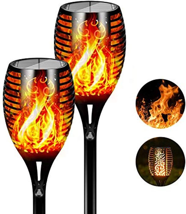 FLOWood Solar Torch Flickering Flame Waterproof Lights - Only £12.49!