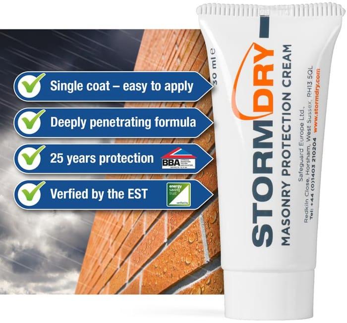 Free 30ml Tube of Stormdry Masonry Protector Cream.