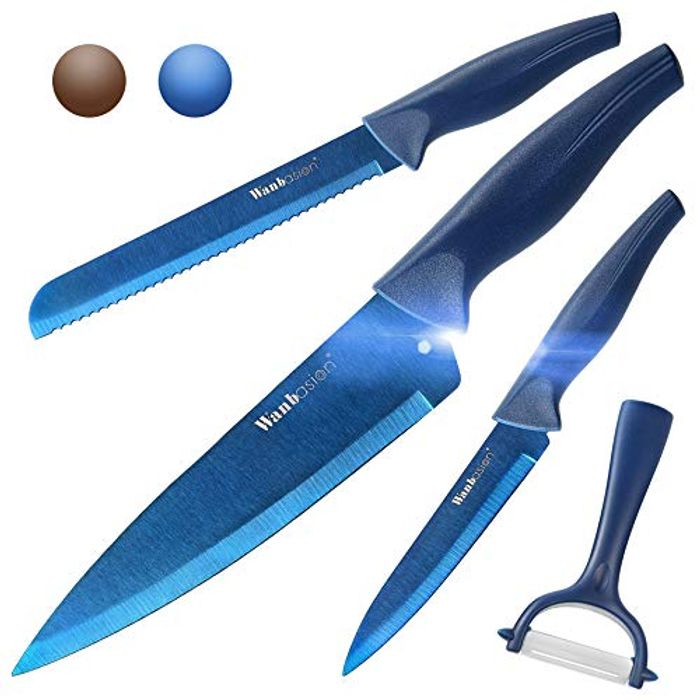 DEAL STACK - Wanbasion Blue Professional Kitchen Knife Chef Set + £3 Coupon