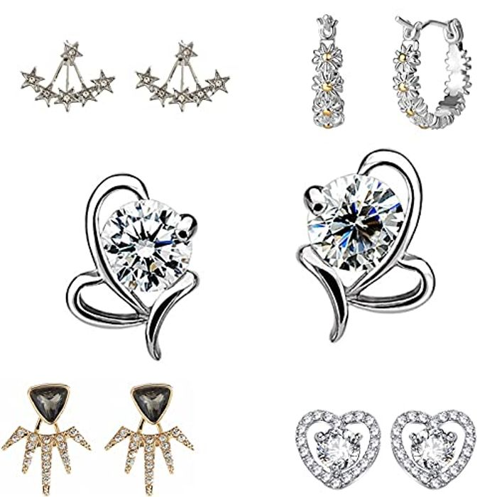 Sterling Silver/Brass/Rhinestone Infinity Love Heart-Shaped Earrings - Only £3!