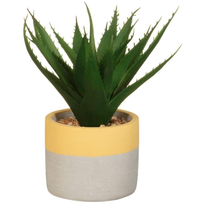 Artificial Plant in Cement Pot - Yellow / Aqua / Coral
