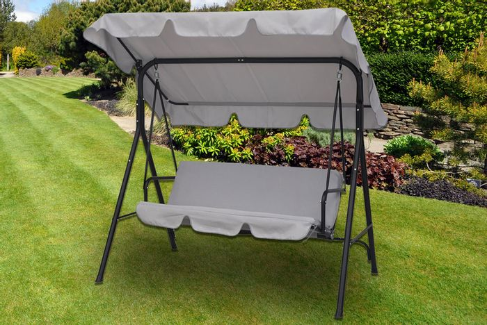 3-Seater Swing Chair with Canopy - Grey