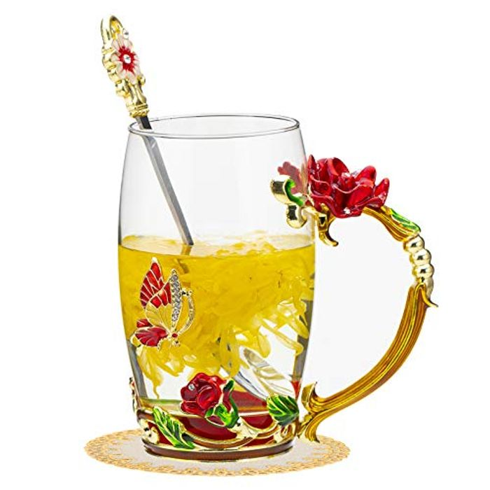 DEAL STACK - Enamels Glass Mug Butterfly Rose Red Flower Clear Lead + 5% Coupon