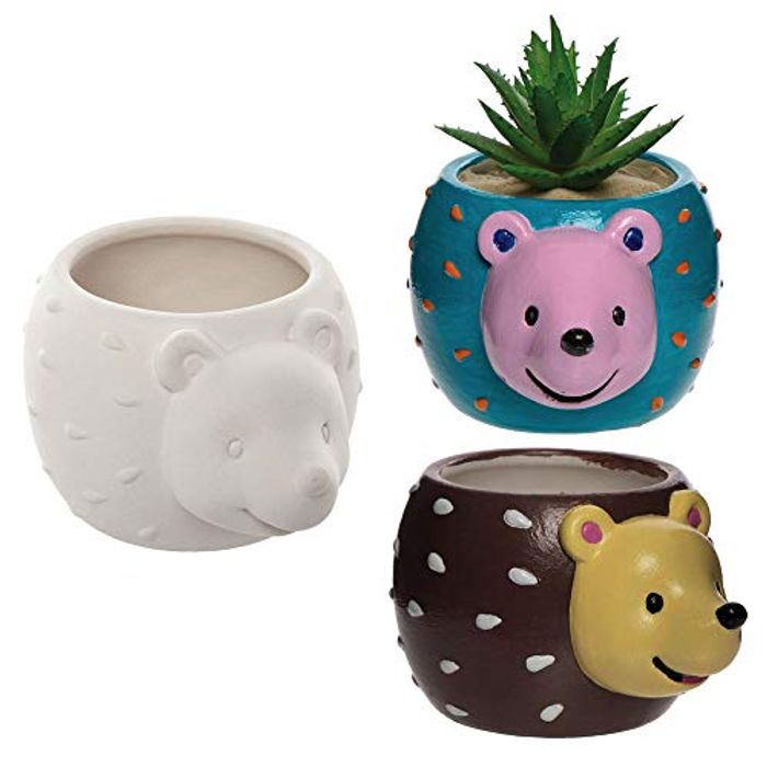 Hedgehog Ceramic Flower Pots, 2 Pack, for Kids to Paint and Grow Your Own Plants