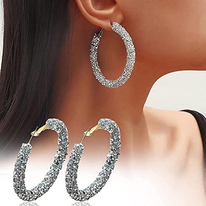 Full Inlaid Diamond Flash Chunky Hoop Earrings (1 Pair) for Women - Only £2.99!
