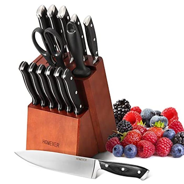 Half Price! 15-Piece Kitchen Knife Set with Block