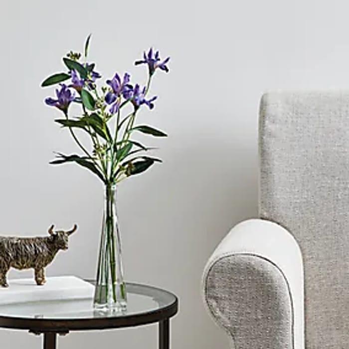 Artificial Iris Purple in Glass Vase 36cm