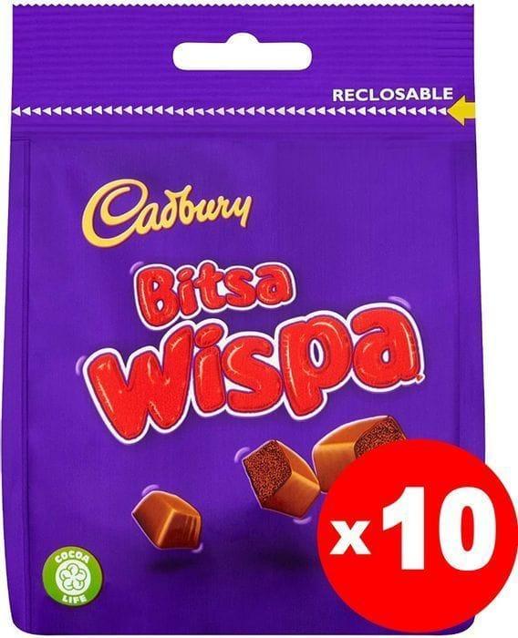 Cadbury Bitsa Wispa Chocolate Bag, 95g - Pack of 10