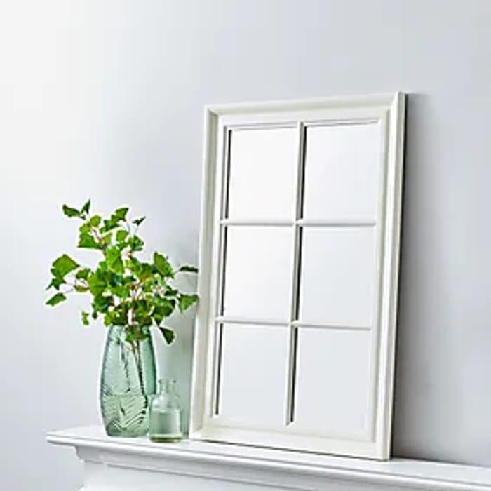 1/2 Price - Window Wall Mirror 90x60cm White