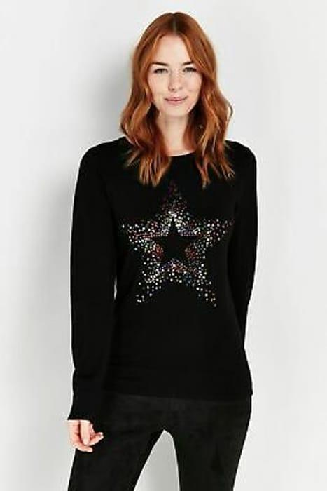 Wallis Womens Black Rainbow Star Print Jumper