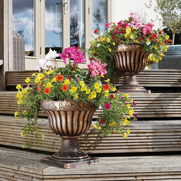 50% Off Bronze Pedestal Planters *Set Of 2