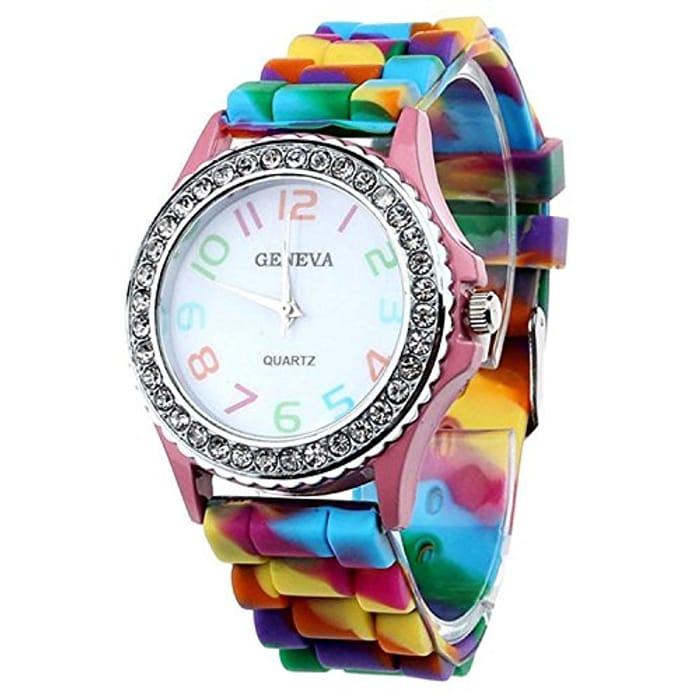 Women Silicone Crystal Bling Analog Quartz Wrist Watch