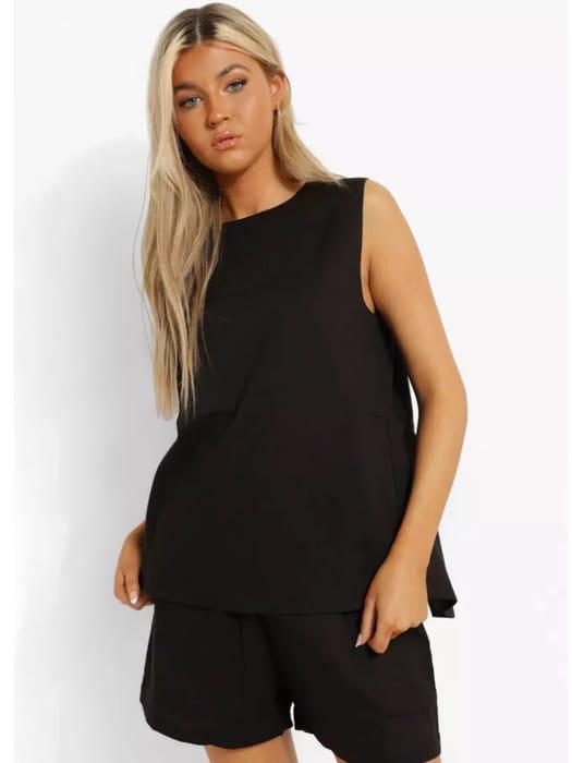 Boohoo Tall Linen Look Tie Back Top & Short Pj Set in Black or White