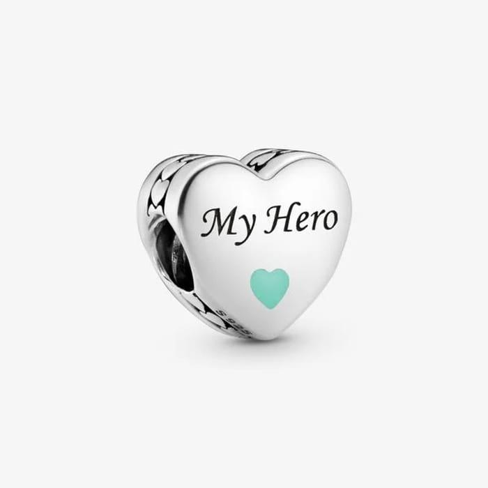 Pandora- My Hero Heart Charm - Sterling Silver
