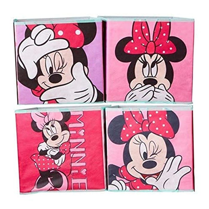 Minnie Mouse Kids Cube Toy Storage Boxes, Candy Pink, 28x28x28xper