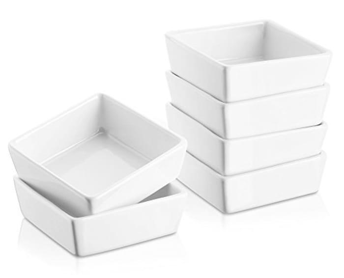 175ML Porcelain Ramekin Dishes, Souffle Set of 6, White
