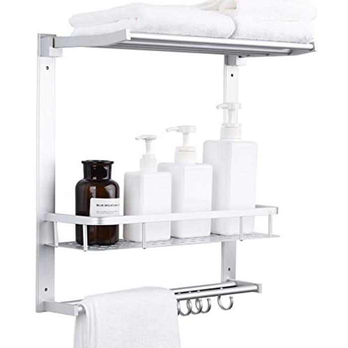 Adjustable 2 Tier Shower Caddy Towel Rack, Bar & Hooks 45x43cm