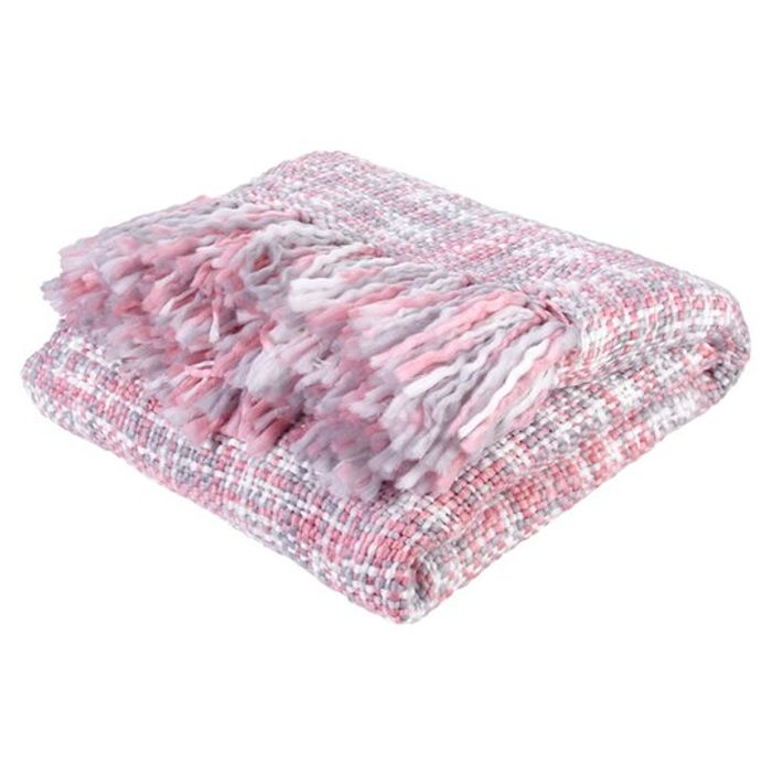 Pink Boucle Throw