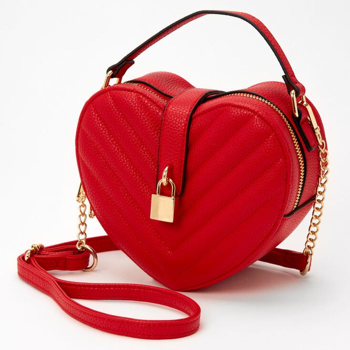 Quilted Heart Chain Crossbody Bag - Red