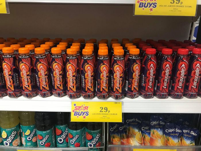 Lucozade Zero Energy Drinks Original / Orange