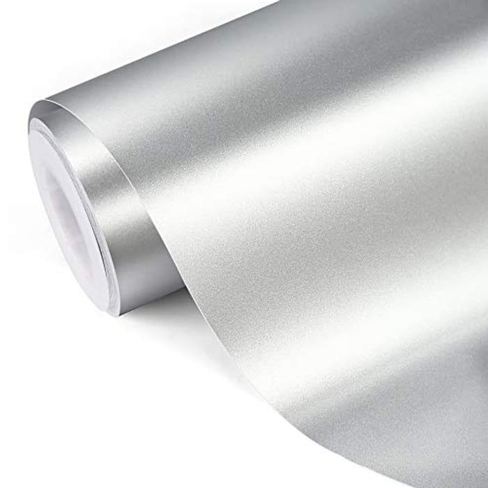 TECKWRAP Silver Sage Metallic Chrome Adhesive Craft Vinyl,1ftx5ft - Only £5.95!
