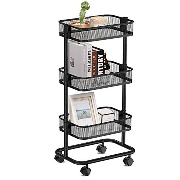 3-Tier Rolling Cart with Metal Mesh Basket