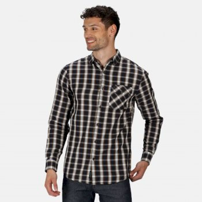 Men's Lonan Long Sleeved Checked Shirt Navy Plaid
