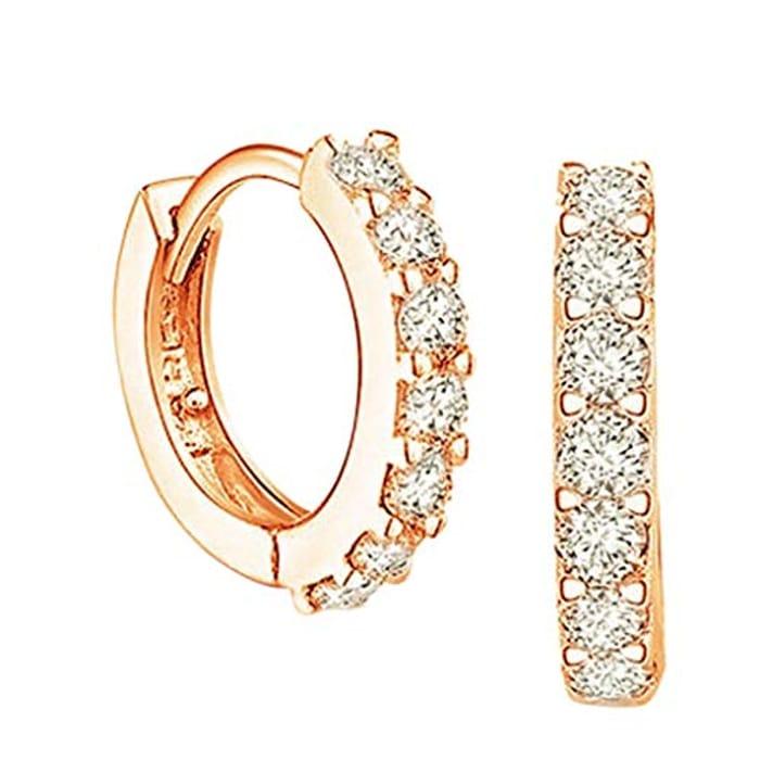 Sterling Silver Huggie Hoop Earrings, Rose Gold Hoop Earrings