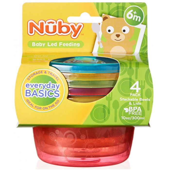 Nuby Stackable Bowls with Lids 4pk