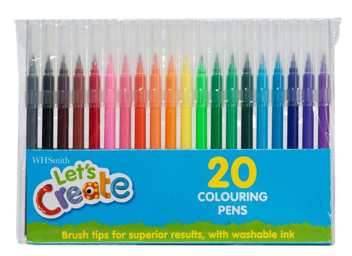 WHSmith Let's Create Colouring Pens, Multi Ink (Pack of 20)