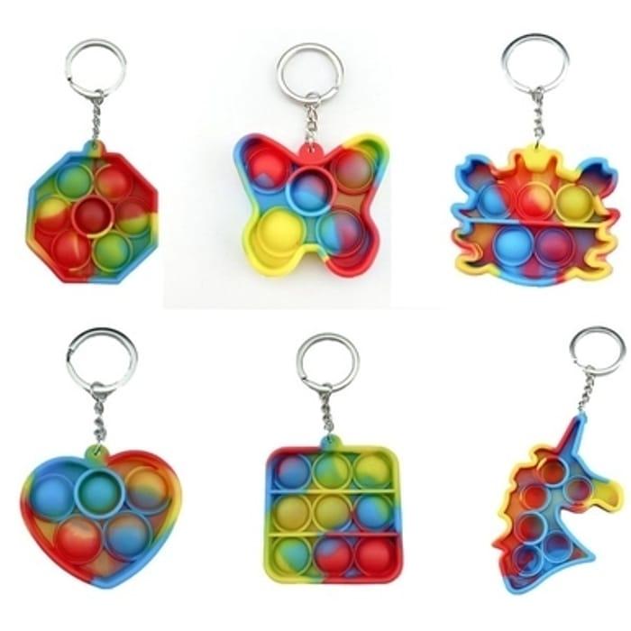 Multi Colour Mini Pop-It Rainbow Key Chain