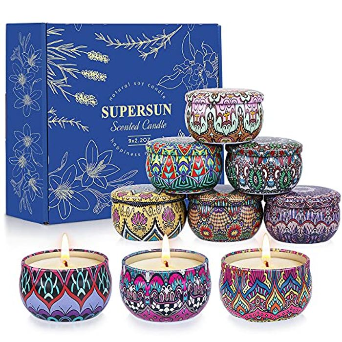 DEAL STACK - SUPERSUN Scented Candles Gift Set, 9 Pack + 10% Coupon