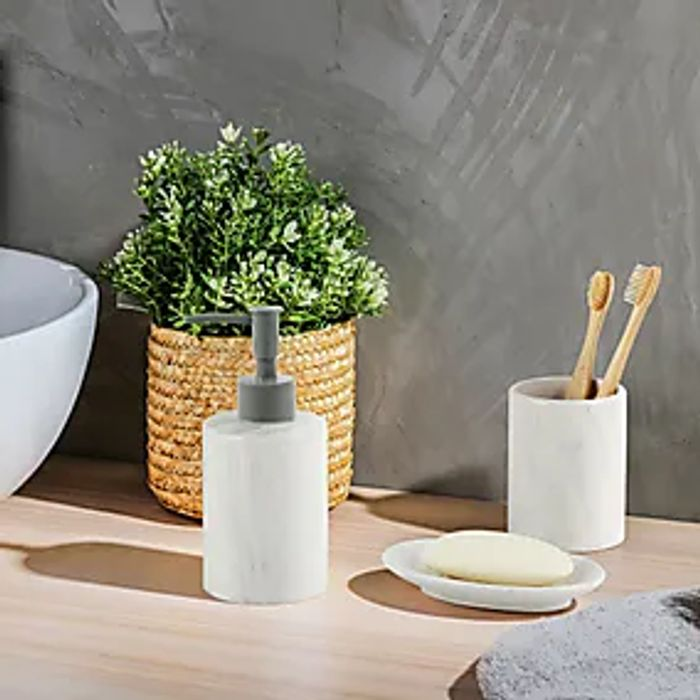 Set of 3 Marble Effect Ceramic Bathroom Accessories - Only £2.80!