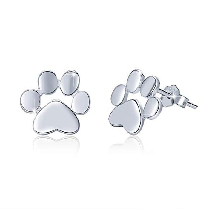 BAMOER Stud 925 Sterling Silver Animal Pet Paw Earrings Gift - Only £6.99!