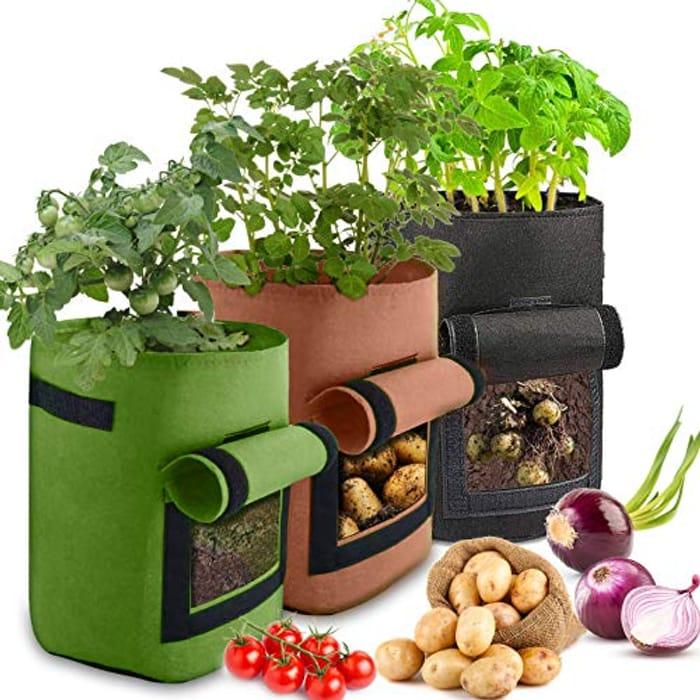 ZAHRVIA 3 Pack 10 Gallon Grow Bags