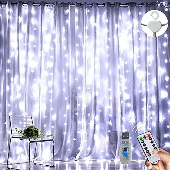 DEAL STACK - Augone 3m3m 300LED Waterproof Curtain Fairy Lights + 10% Coupon