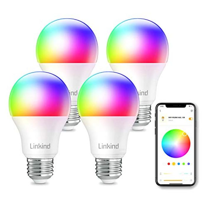 Pack of 4 Smart WiFi Light Bulb, Compatible with Alexa and Google Home